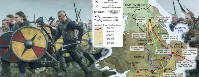 The Great Heathen Army as depicted in Vikings, map of the real journey taken.