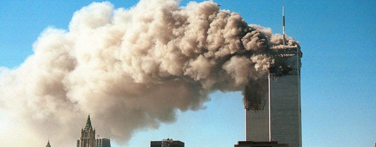 A photograph showing the attacks on buildings WTC 1 and WTC 2 (also known as the Twin Towers)
