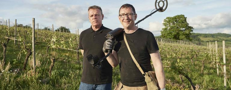 Madness frontman, Suggs (left), joins relic hunter Stephen Taylor in WW2 Treasure Hunters.