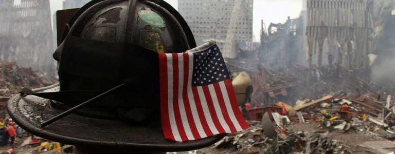 The American flag in the backdrop of 9/11.
