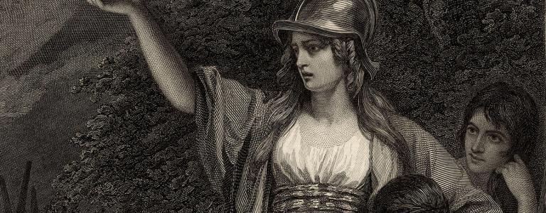 An engraving by William Sharp published in 1793, based on Boadicea Haranguing the Britons   Public Domain   Wikimedia