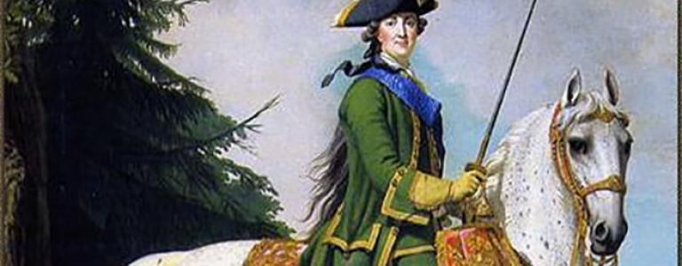 Equestrian portrait of Catherine in the Preobrazhensky Regiment's uniform, by Vigilius Eriksen | Public Domain