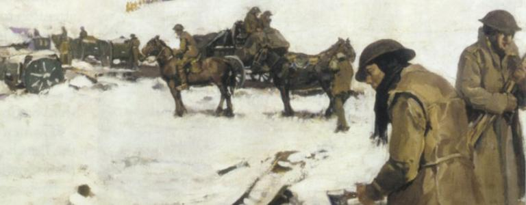 Mametz, Western Front, a winter scene, painting by Frank Crozier | Public Domain