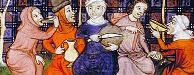 Peasants enjoying a simple meal