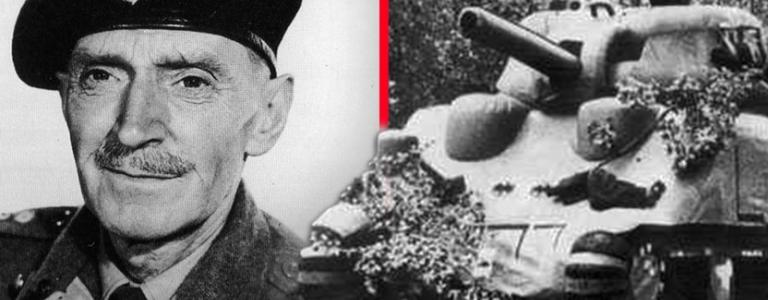 Left:  Australian actor M.E. Clifton James  in his General Montgomery disguise, right an inflatable tank