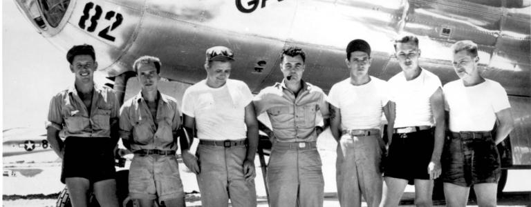 Paul Tibbets infront of the Enola Gay