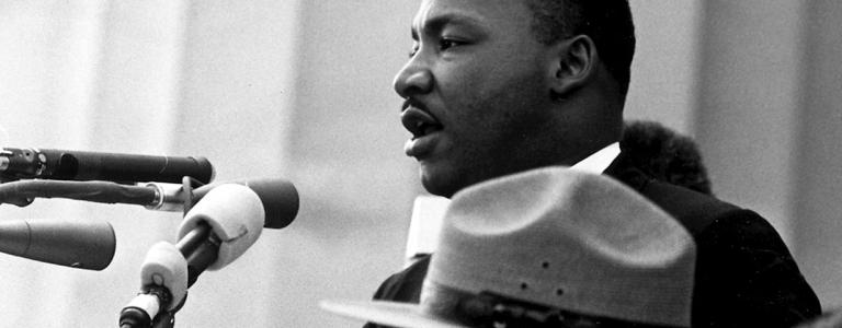 Martin Luther King delivers his 'I Have a Dream', speech before the Lincoln Memorial