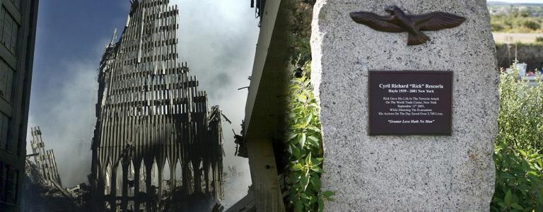 A photo of the ruins of the World Train Centre and Rick Rescorla's grave