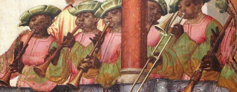 A group of African musicians from the painting, the Engagement of St Ursula and Prince Etherius