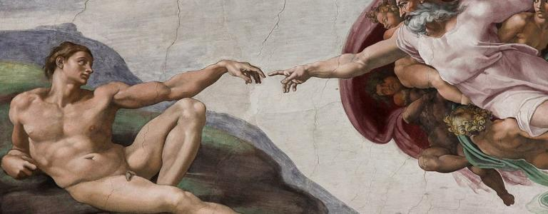 Photo of the ceiling of the SIstine chapel depicting Adam's creation