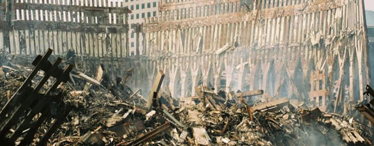 The wreckage of the Twin Towers