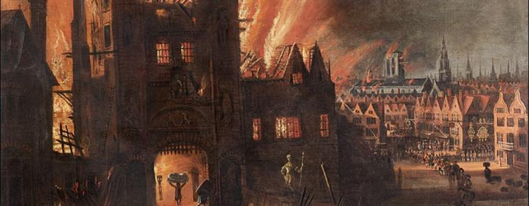 A painting of the Great Fire of London