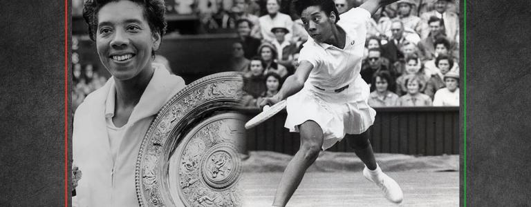 A photograph showing Althea Gibson playing tennis