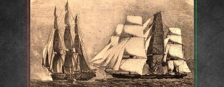 HMS Brisk and Emanuela. Capture of slave ship, also known as Manuela, an 1854 | Public Domain | Wikipedia